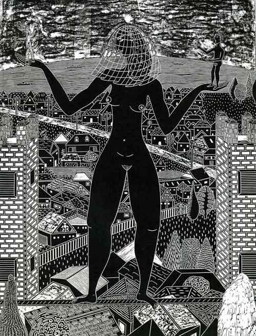 Veiled Woman on Balance Beam