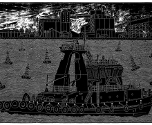 The Tugboat - 2008 - Linouct - 78cm x 115cm